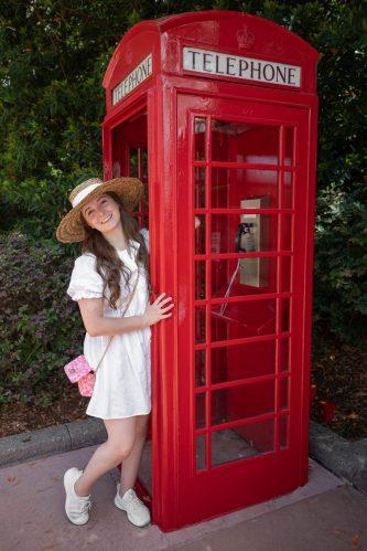 Red British Phone Booths at United Kingdom Pavillion at Epcot Walt Disney World Photographed by Annie Fairfax