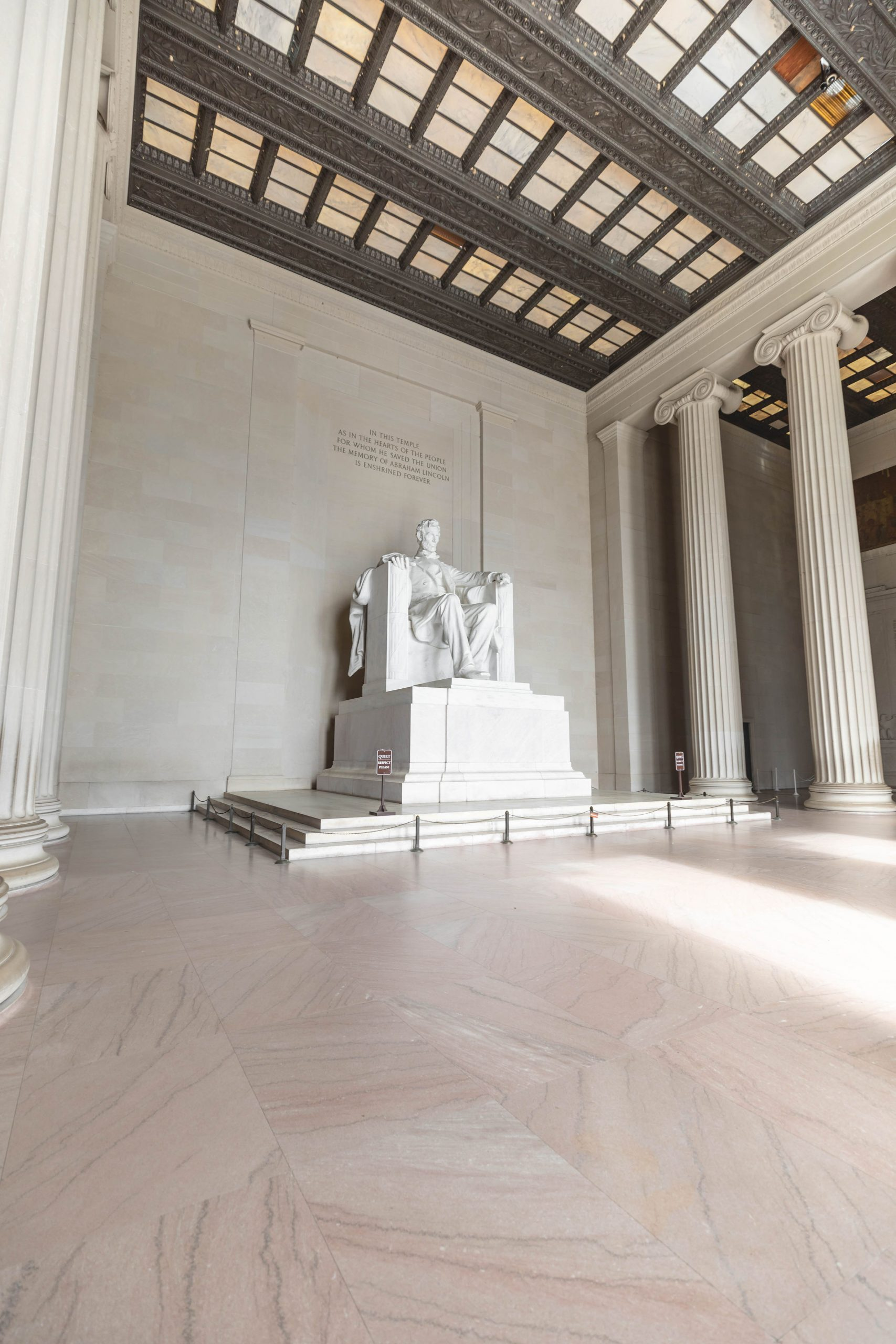 Lincoln Memorial Statue of Abraham Lincoln at Mall of America in Washington DC Photographed by Luxury Travel Writer Annie Fairfax