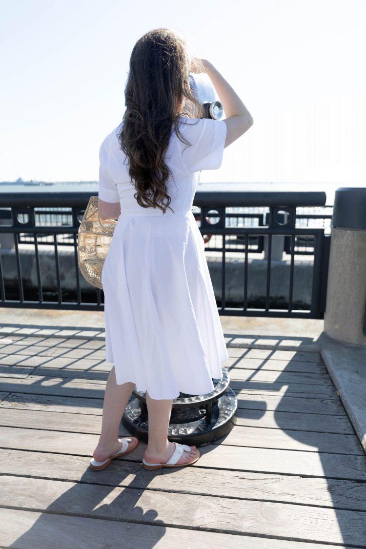 White Tie-Waist Shirt Dress