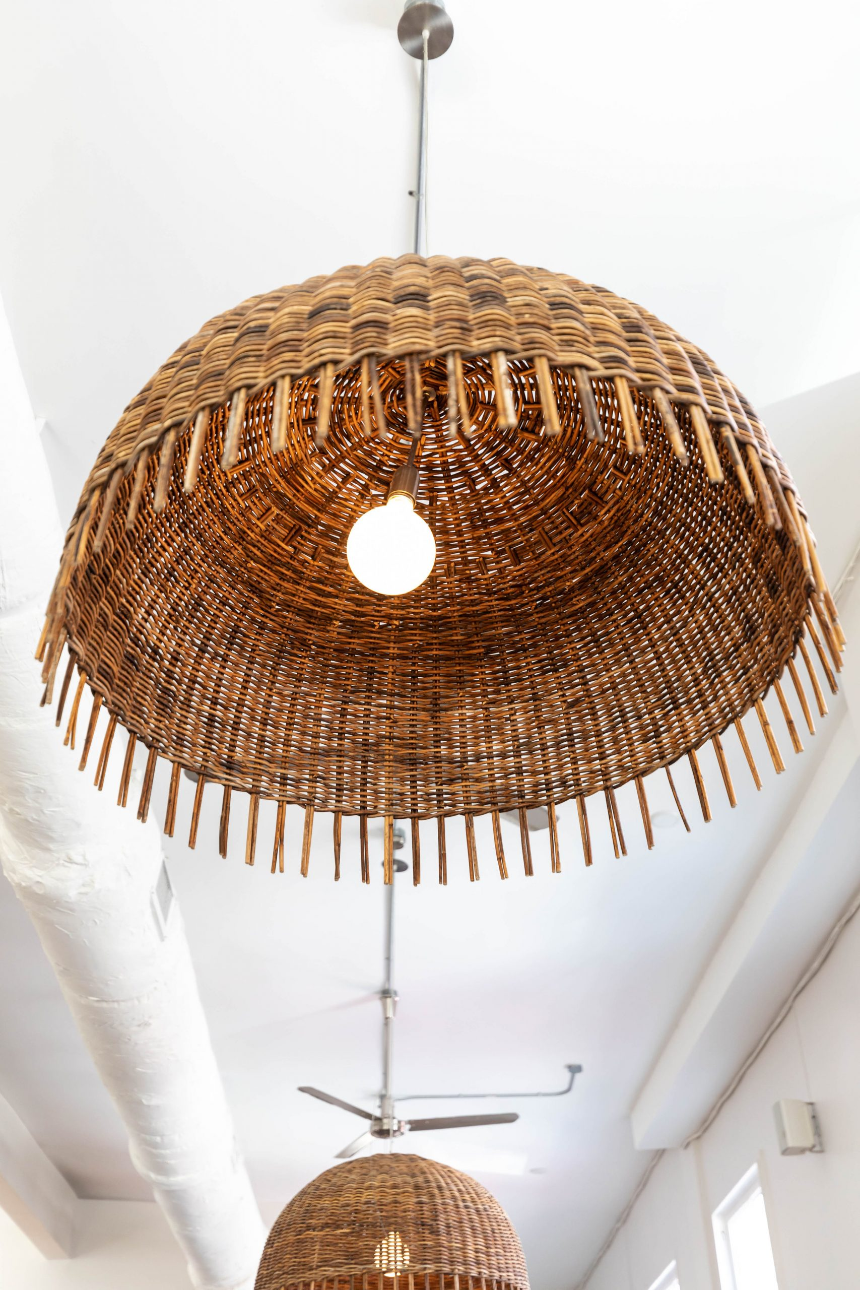 Straw Pendant Lights at Basic Kitchen in Charleston South Carolina Plant Based Seasonal Local Cuisine Photographed by Annie Fairfax