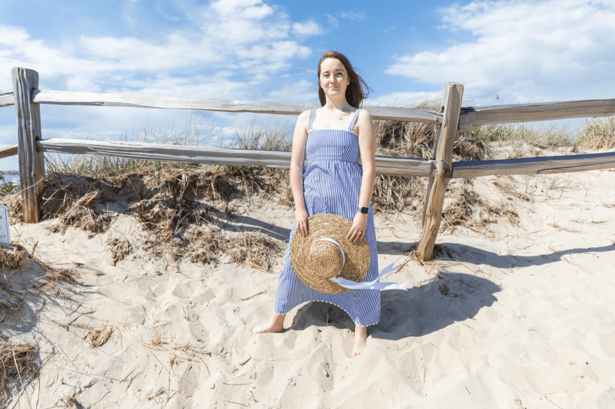 Tuckernuck Blue and White Striped Beachy Maxi Dress with Scallop Trim Styled by Annie Fairfax