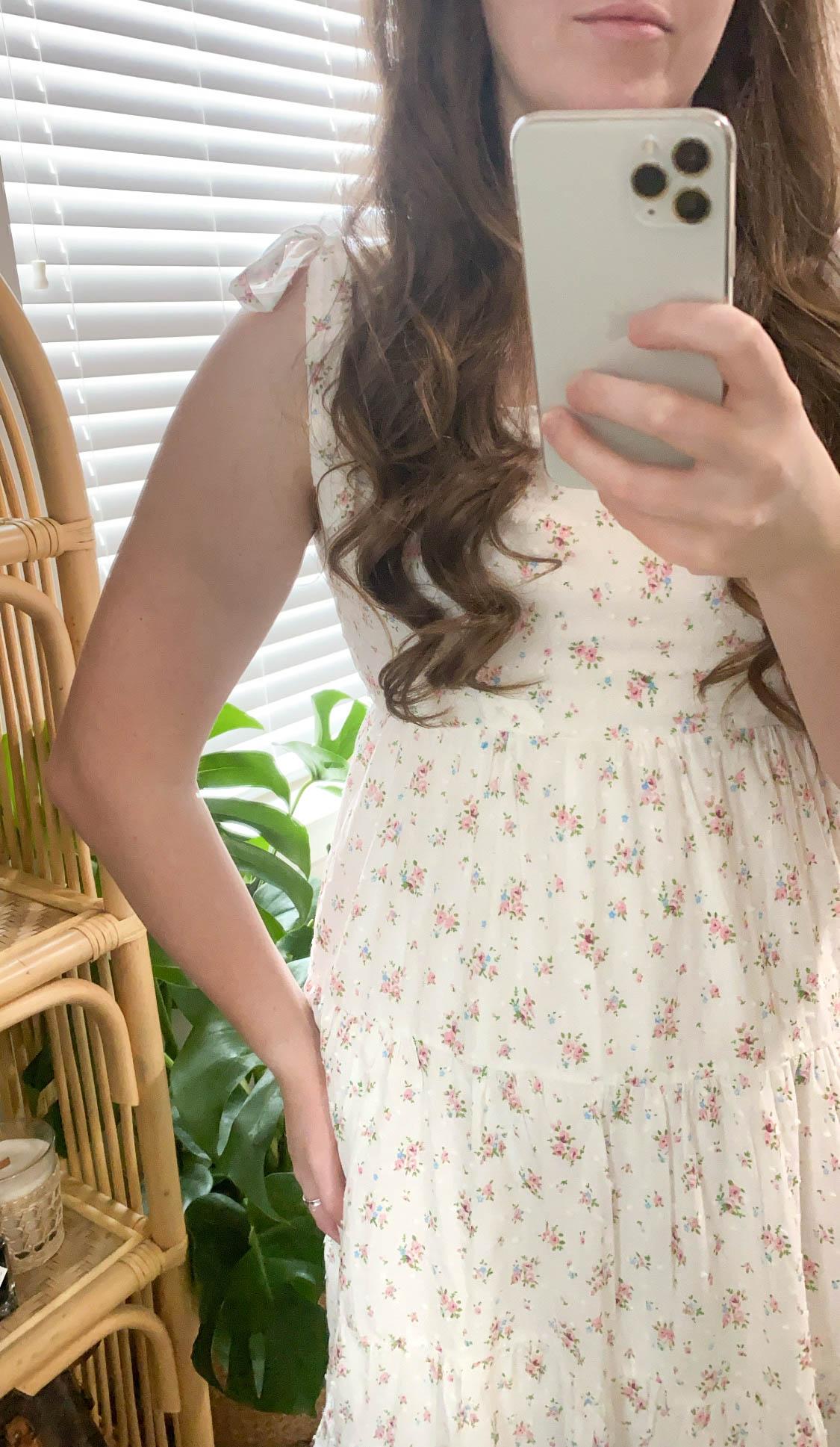 Swiss Dot Floral Tie Shoulder Maxi Dress Ivory Cotton Annie Fairfax