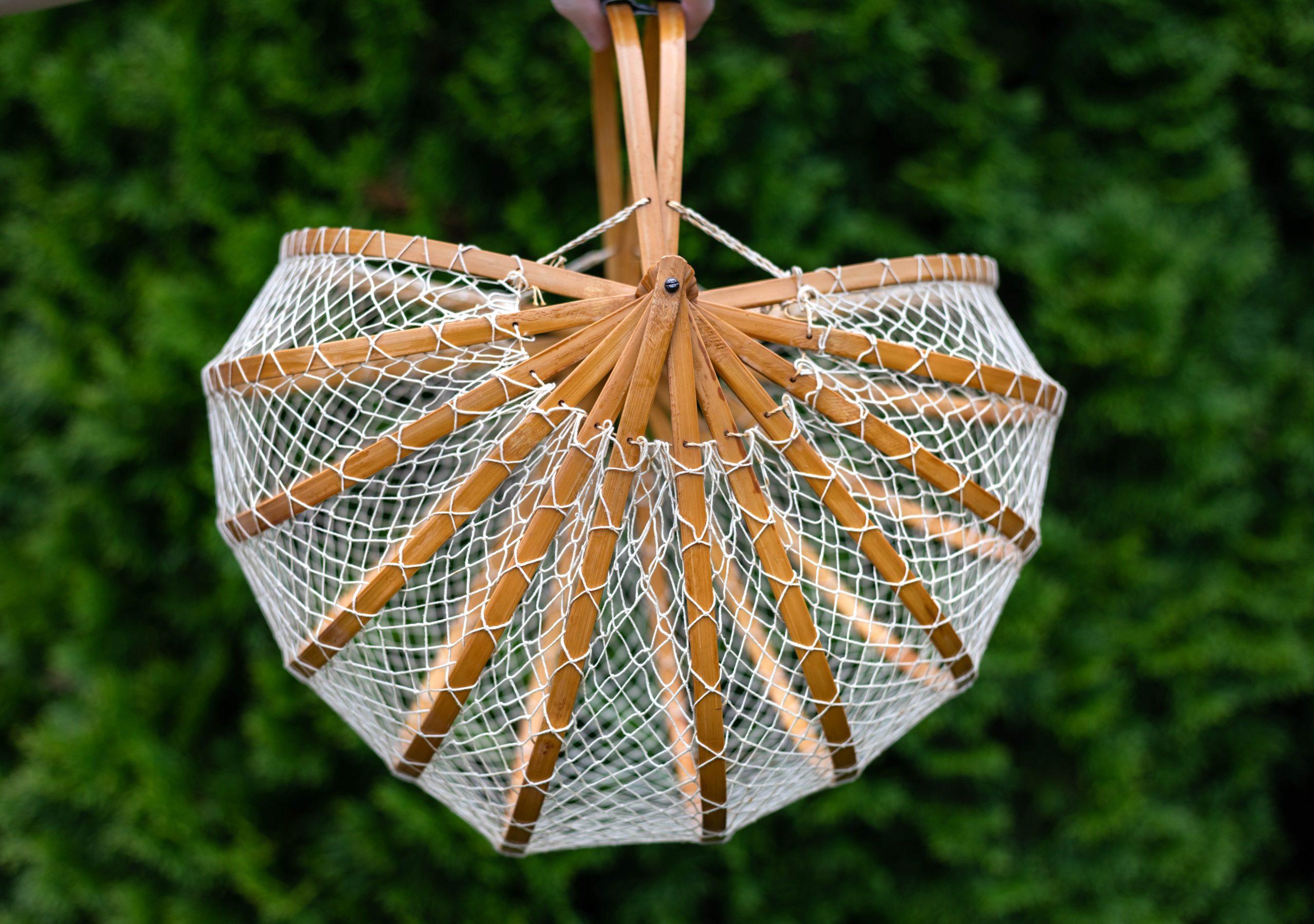 Japanese Net Basket Bag Oversized Linen Button-Up Shirt Worn by Annie Fairfax
