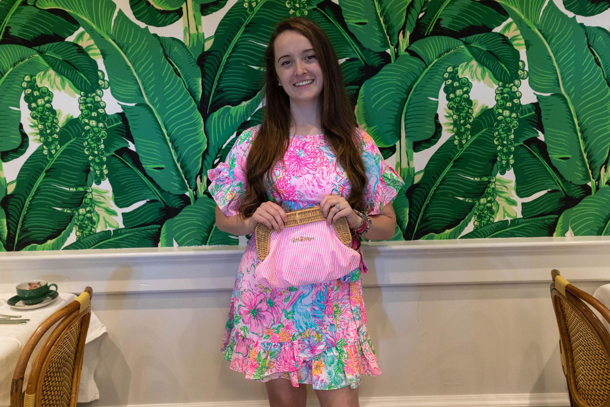 Neon Pink Tieks and Lilly Pulitzer Dress at Grand Hotel Mackinac Island Michigan Styled by Annie Fairfax