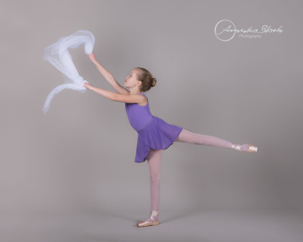 A young ballerina during a ballet photography session in West London.