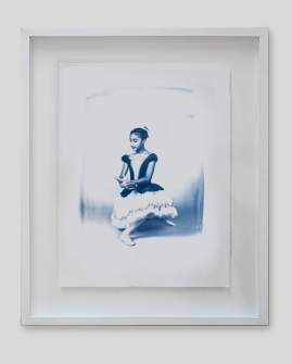 Ballerina portrait as Blue Print, framed