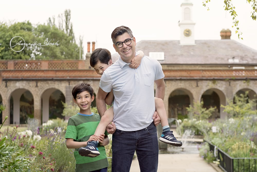 Family photography in Holland Park, London, Father and sons