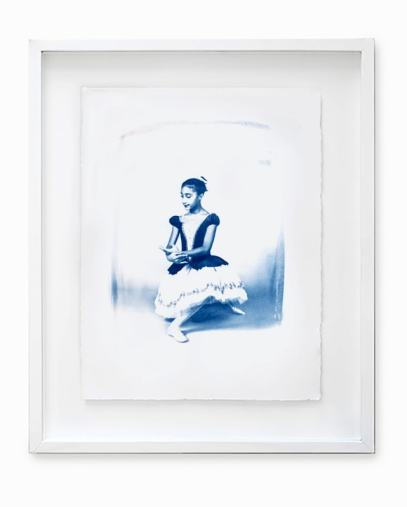 Framed cyanotype of a ballerina