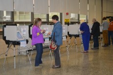 Voters inside Bates Middle School in Annapolis.