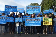 Former Maryland gubernatorial candidate Anthony Brown supporters outside of St. Joseph Catholic Church in Upper Marlboro on Election Day 2014.