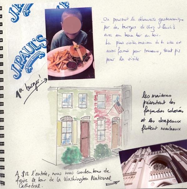 carnet de voyage - aquarelle- Washington Georgetown