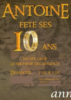 Un Escape Game Seigneur des Anneaux pour ses 10 ans.