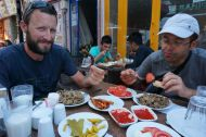 Edirne ciğeri (thinly sliced calf's liver deep fried and served with deep fried red chillies)