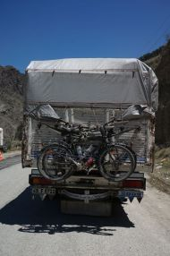 A new resting place for the bikes - thanks Murat