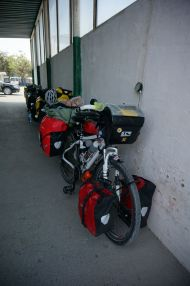 Bikes waiting patiently in a row