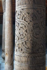 Hand carved columns in the Juma Mosque, Khiva