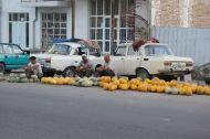 There is hardly a roadside without melon sellers