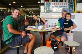 At the local hawker market with our WS hosts - Eden, Meraiah, Tim and Morgan