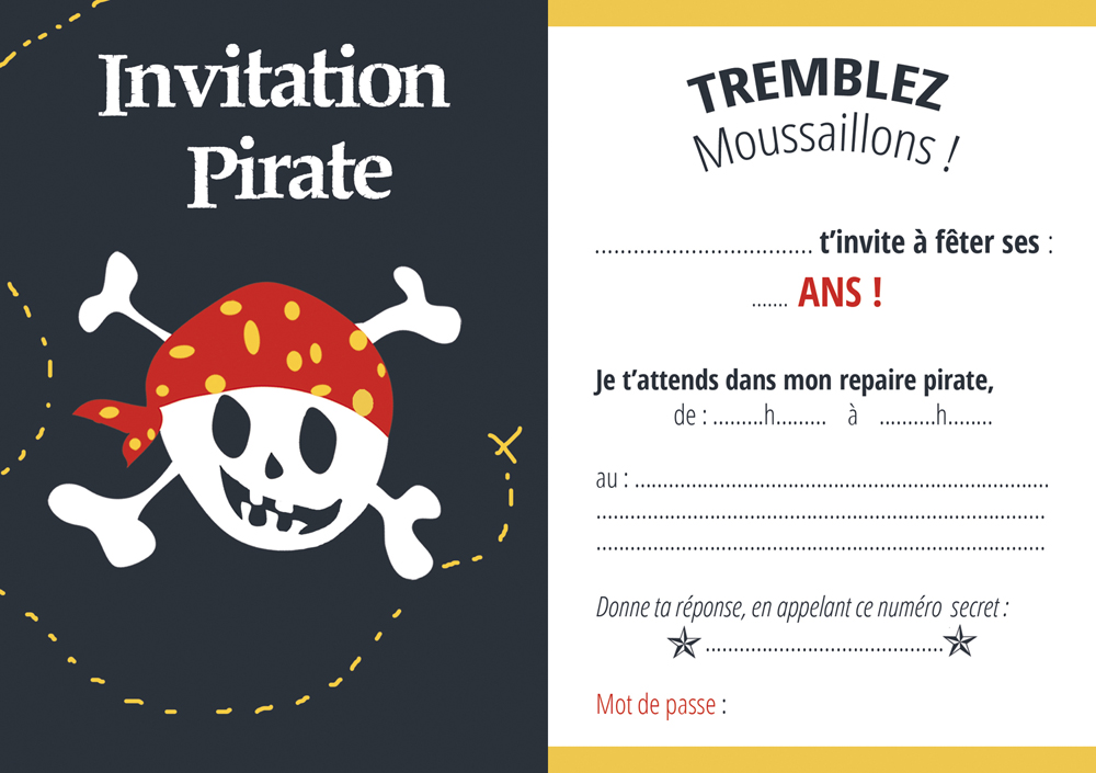 invitations pirate gratuites en francais