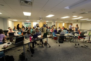 Ann K. Emery teaching a data visualization workshop for the Research Triangle Park Evaluators in Durham, NC