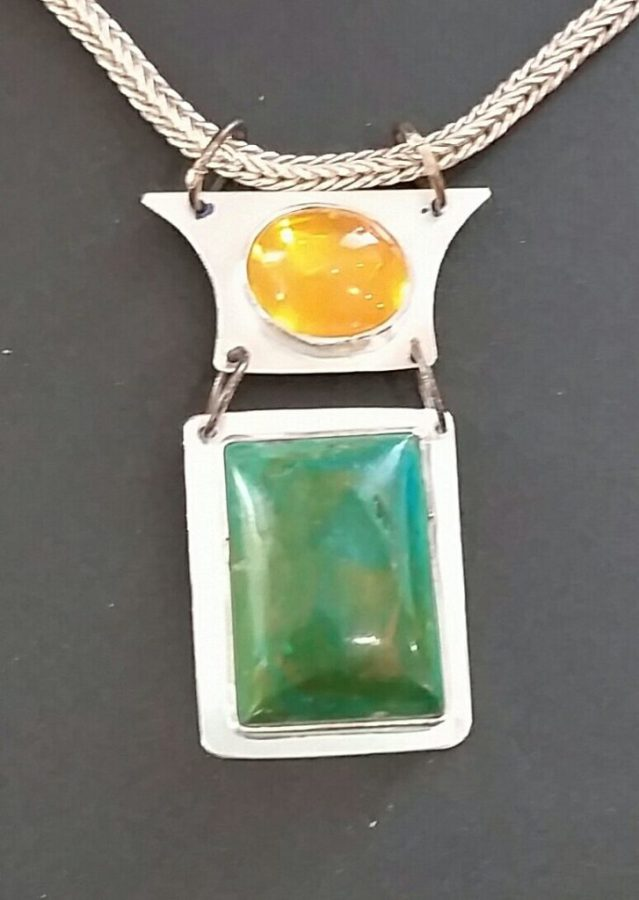 Chrysacolla and Opal Pendant