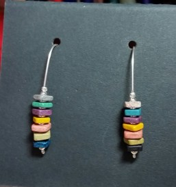 Colorful Stack Earrings on Sterling Silver Wire