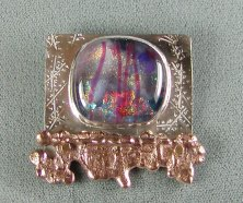 Dichroic glass, Sterling, and Cast Bronze Pin