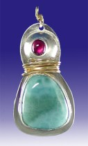 Larimar and Garnet Pendant with Sterling Silver and gold-filled wire