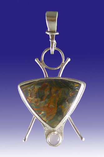 Pietersite and Sterling Silver Pendant