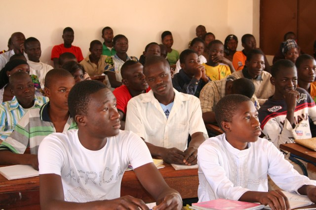 I took this photo in a high school class in Mali.  There should be more girls in this class.  We can help that happen.