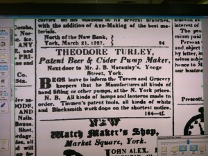 Theodore Turley 1829 Colonial Advocate Ad