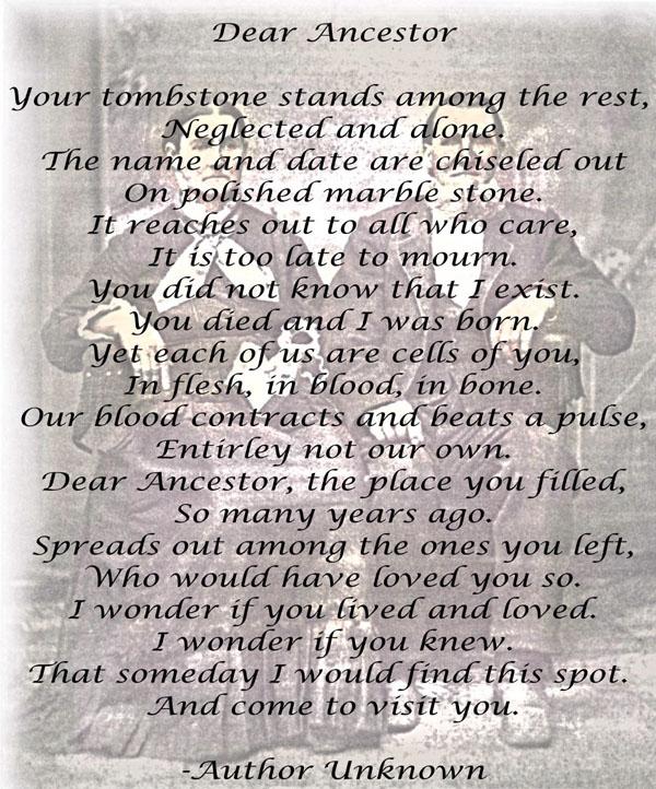 Dear Ancestor Poem