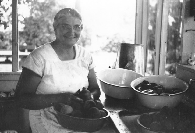 Grandma Cutting Peaches