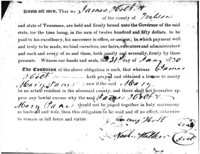 Holt, James & Mary Pane Marriage Bond