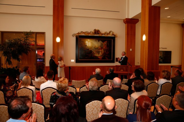 """1508-64 128 1508-64 Greg Olsen Painting Unveiling of Greg Olsen's new painting """"Treasures of Knowledge"""" that will be displayed in the family room of the Gordon B. Hinckley Visitors and Alumni Center. The painting was commissioned by Leo and Annette Beus. August 19, 2015 Photo by Jaren Wilkey/BYU © BYU PHOTO 2015 All Rights Reserved photo@byu.edu  (801)422-7322"""