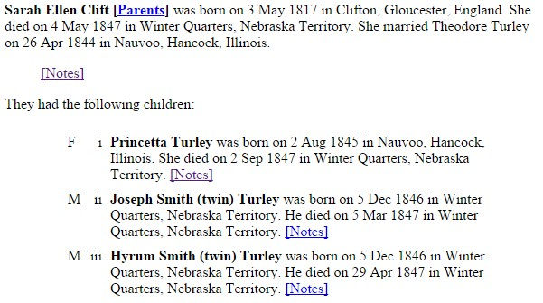WQ Sarah Ellen Clift Family deaths