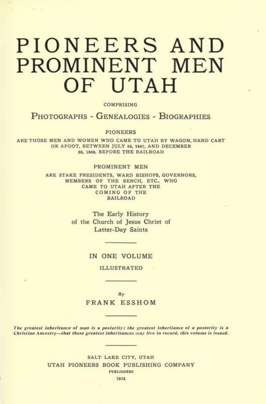 Pioneers and Prominent Men of Utah cover page
