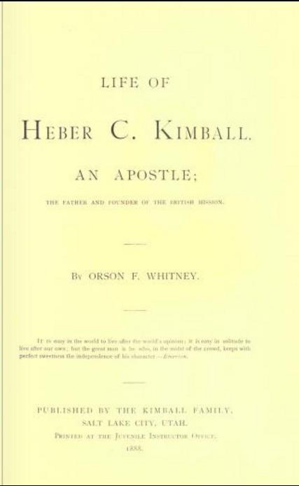Heber C. Kimball, Life of, book