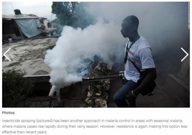 Malaria spraying