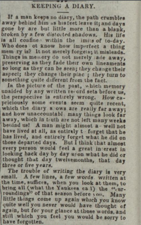 Journal Keeping a Diary 1862.1