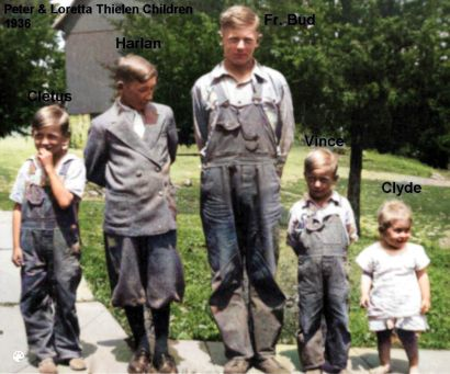 Thielen Family -Bushman Loretta children 1936-Colorized