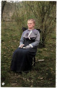 Tolton Clara Ann sitting outdoors-Colorized