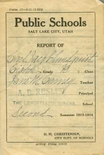 Lundquist, Carl Jacob report card 1