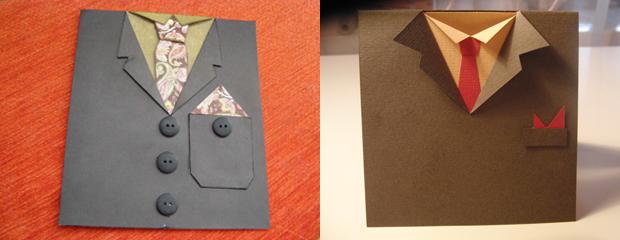 Открытка пиджак с рубашкой пошагово, для открытки