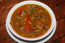 VEGETABLE SOUP WITH VEGETARIAN MEATBALLS