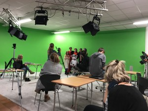 Actors and film crew hard at work