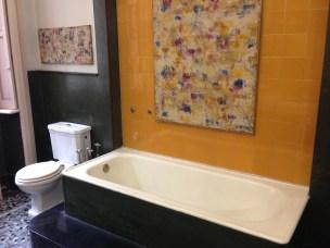 Bathroom with work by Ralph Rumney