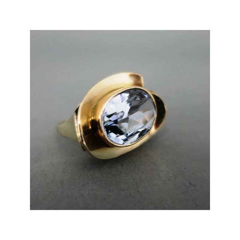 Damenring in 333 Gold mit groem Blautopas 32000