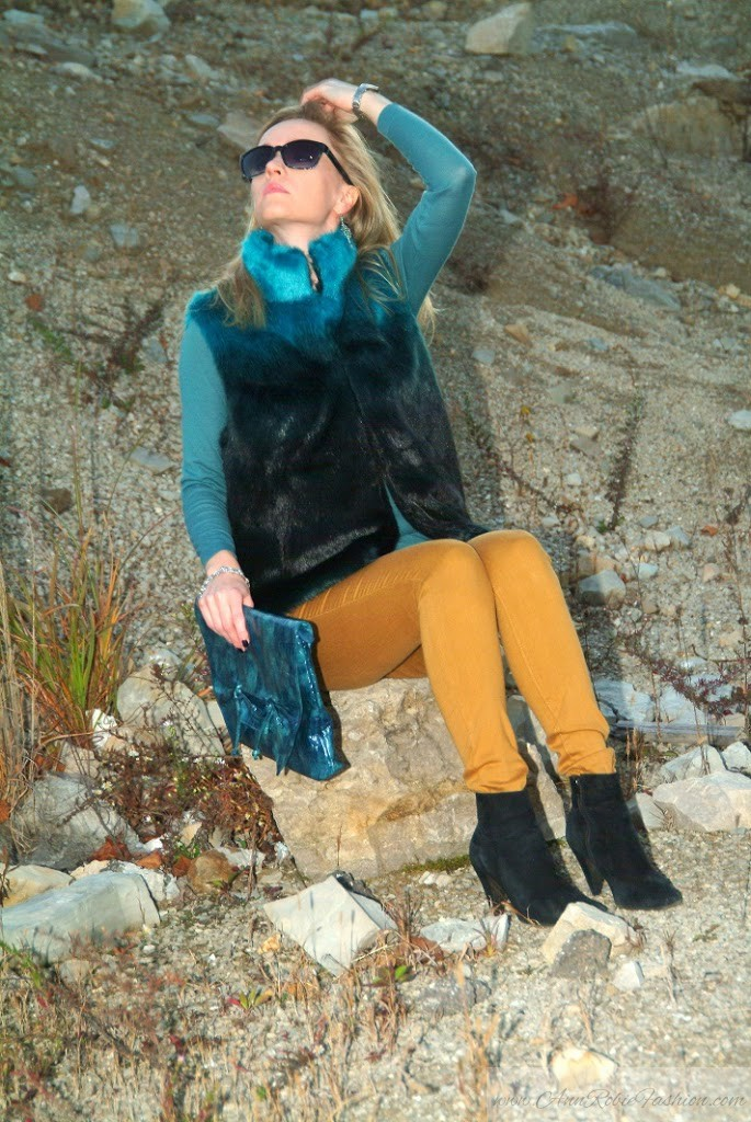 Faux Fur Vest With Yellow Jeans