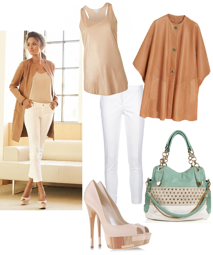 Get The Look by style blogger AnnRobieFashion: beige leather coat, white skinny pants, nude open toe pumps, beige tank